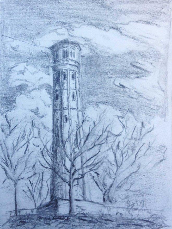 Am Wasserturm, Skizze A5, Bleistift, 15.02.2017