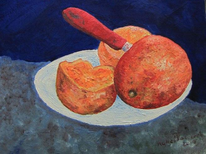 Orangen, Stillleben, Öl auf Acryl, 30*24 cm  Leinwand auf Keilrahmen