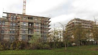 Groth-Baustelle am Mauerpark, Blick auf die Baustelle, im Rücken die Jugendfarm Moritzhof, Sonntag, 26. November 2017