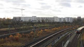 Groth-Baustelle am Mauerpark, Blick auf die Baustelle von der Behmbrücke aus Richtung Süden, Sonntag, 26. November 2017