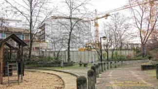 Groth-Baustelle am Mauerpark; Blick von den Höfen der Graunstraße aus; Sonntag, 26. November 2017