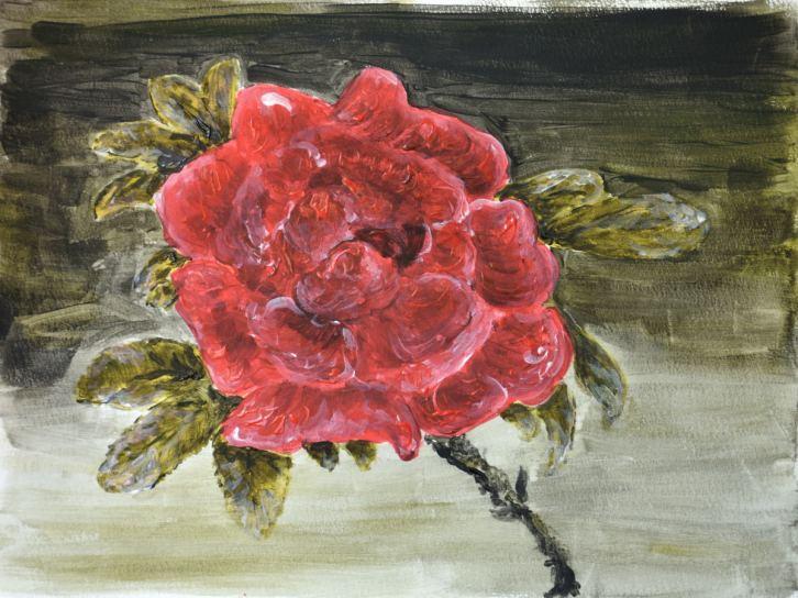 Rosen, Gouache auf Aquarellpapier 250g rau, 30*40 cm, 25.05.2018