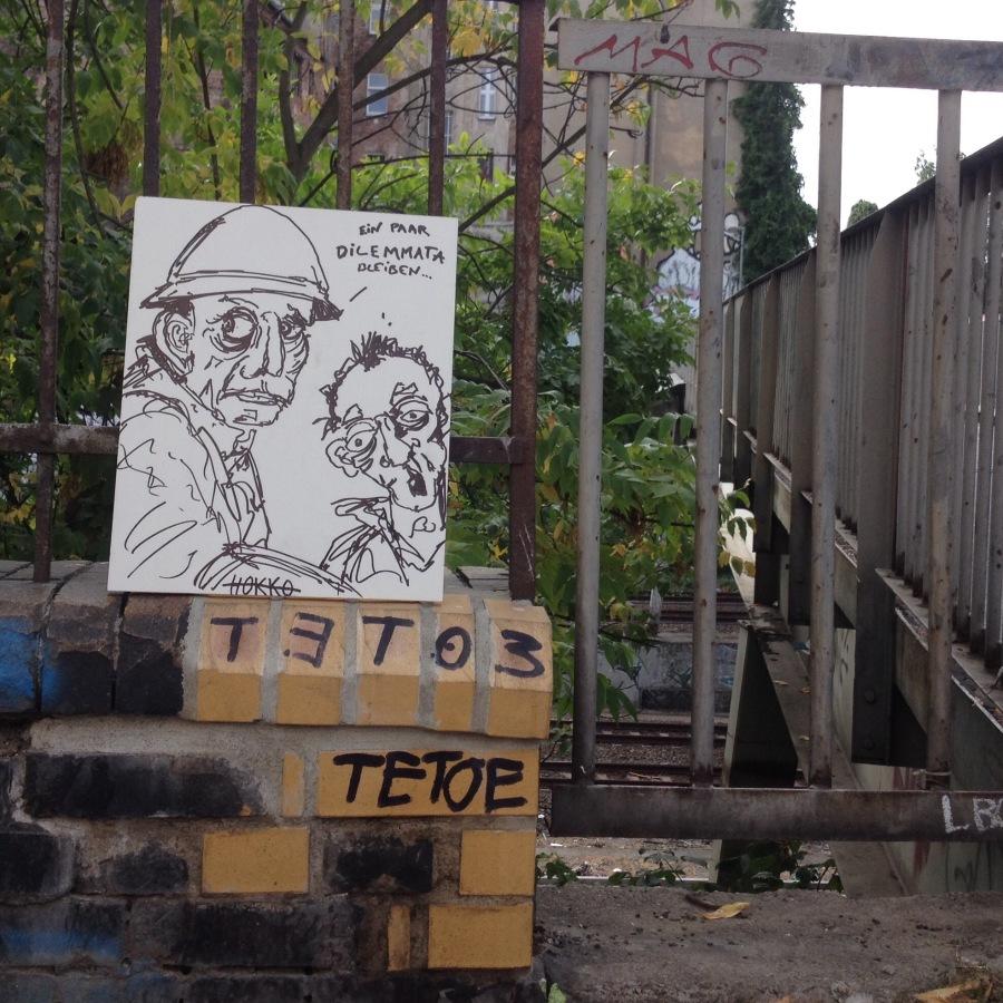 Straßenkunst: Ein paar Dilemmatableiben
