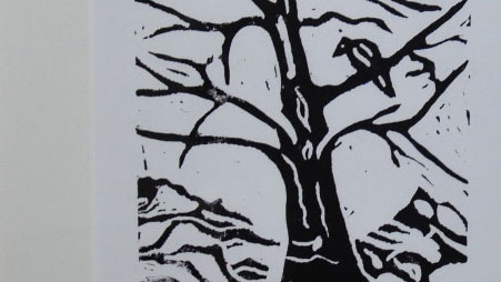 Winterbaum. Linoldruck