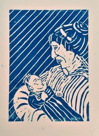Mutter, Linolschnitt A4 auf A3-Papier, Juni 2019