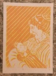 Mutter, Linolschnitt A4 auf Skizzenpapier graubraun, rau; gelb/orange, Juni 2019