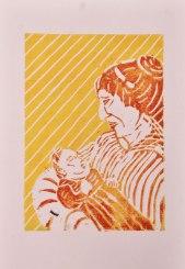 Mutter, Linolschnitt A4 auf Skizzenpapier graubraun, rau; gelb/orange, rot, Juni 2019