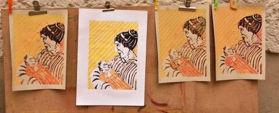 Mutter, Linolschnitt A4, farbiger Druck auf verschiedenen Papieren; Juni 2019
