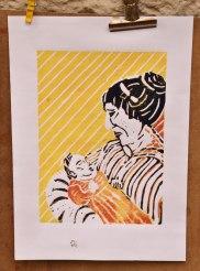Mutter, Linolschnitt A4, farbiger Druck auf Zeichenpapier, weiß, Juni 2019