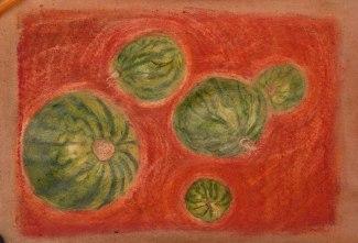 Melonenuniversum, Aquarellbuntstifte und Pastellkreiden auf Skizzenpapier 24*34cm, Juni 2019
