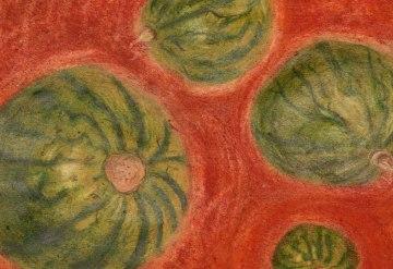 Melonenuniversum, Aquarellbuntstifte und Pastellkreiden auf Skizzenpapier 24*34cm, Juni 2019, Ausschnitt