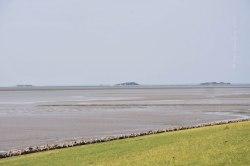 Nordseeinsel Pellworm. Blick Richtung Hallig Hooge, Juli 2019