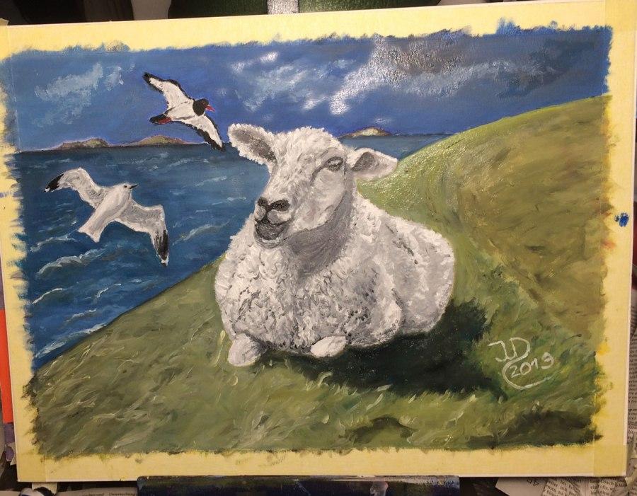 Ölgemälde in Arbeit: Schaf auf demDeich
