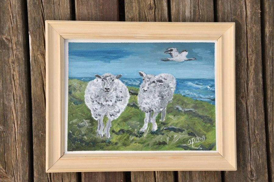 Ölgemälde. Zwei Schafe und der neunzehnteKranich