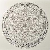 Mandala, Tuschefüller auf Aquarellpapier, 48*46cm