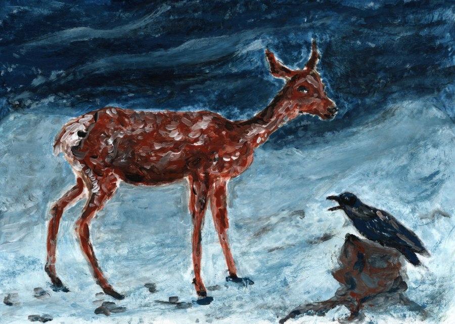 Winterlandschaft mit Reh undRabe